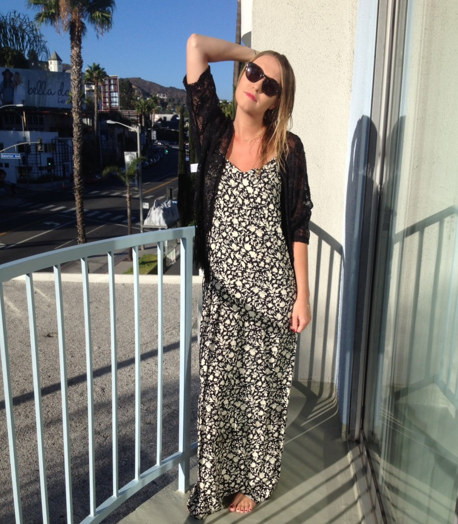 Dress: Flynn Skye; Shawl: Nordstrom BP; Sunglasses: Madewell.