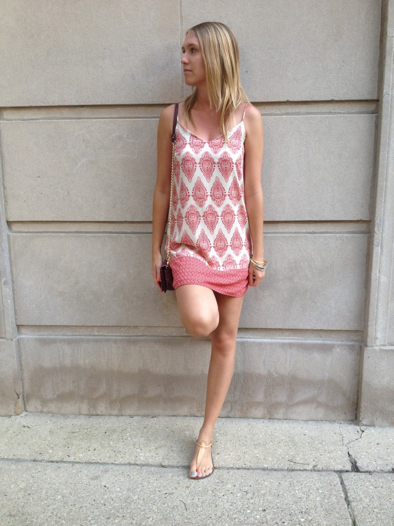 Dress & Jewelry: Nordstrom BP; Crossbody bag: Bagdley Mischka; Sandals: Sam Edelman.