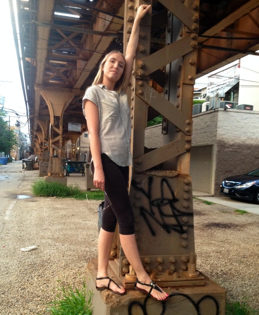 Posin' on the pillar. Sandals: Steve Madden.
