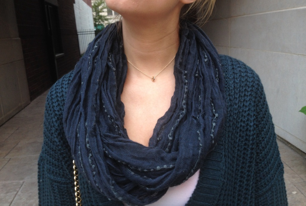Scarf: Nordstrom BP; Necklace: H&M.