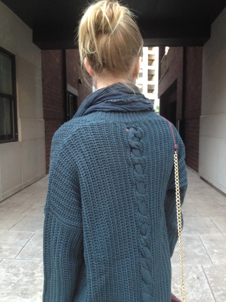 Love the back of this cozy knit sweater.