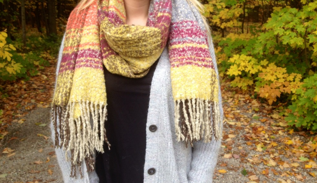I bought this scarf last year from Akira, and it was hands down the best purchase I made all winter. So warm, so cozy and the fall colors are so chic! It's like wrapping a sweater around your neck.